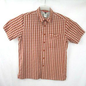 The North Face Orange Plaid Short Sleeve Shirt L